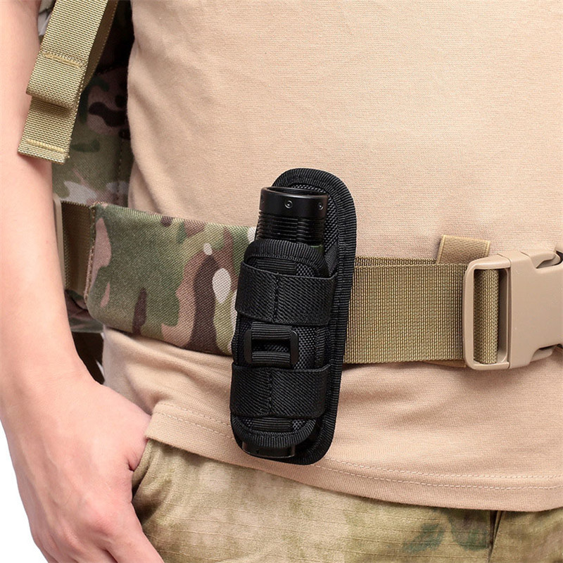 Sports Tactical 360 Degrees Rotatable Flashlight Pouch Holster Torch Case