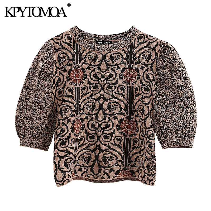 KPYTOMOA Women 2020 Fashion Jacquard Knitted Cropped Blouses Vintage O Neck Puff Sleeve Female Shirts Blusas Chic Tops