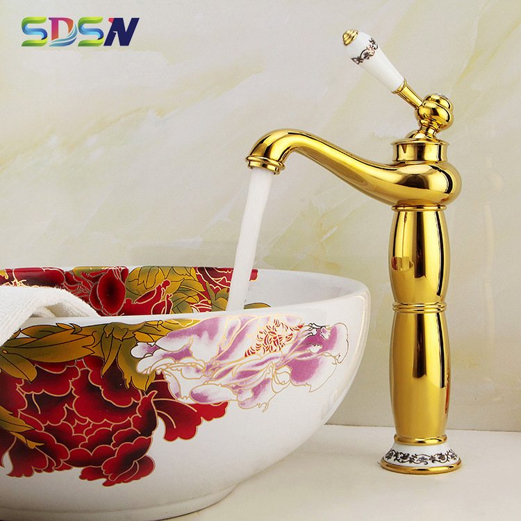 Gold Basin Faucet SDSN High Bathroom Basin Faucet Quality Brass Basin Sink Mixer Tap Deck Mounted Top Gold Bathroom Faucets