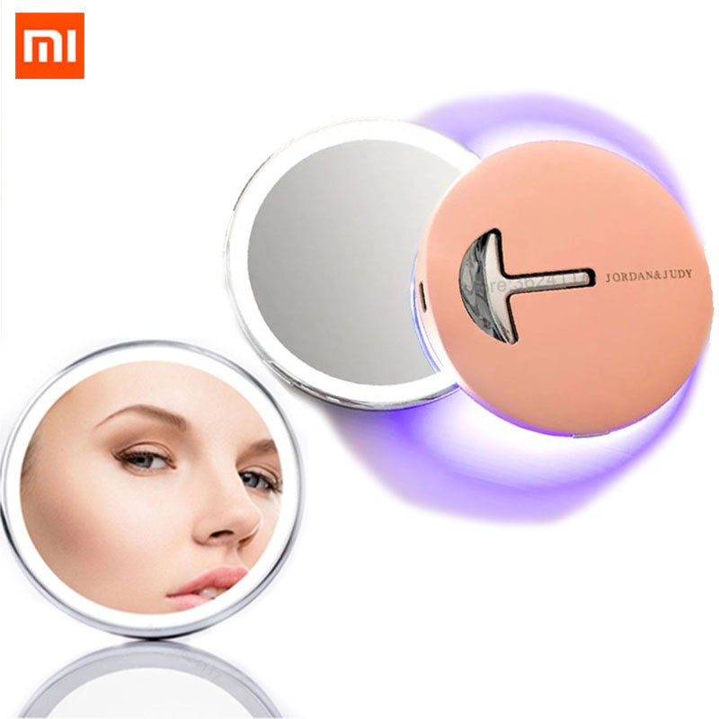 Xiaomi Jordan Judy LED Makeup Mirror Type c With Light Fill Light Makeup Mirror Portable Folding Handheld Portable Mini Mirror|Smart Remote Control| - AliExpress