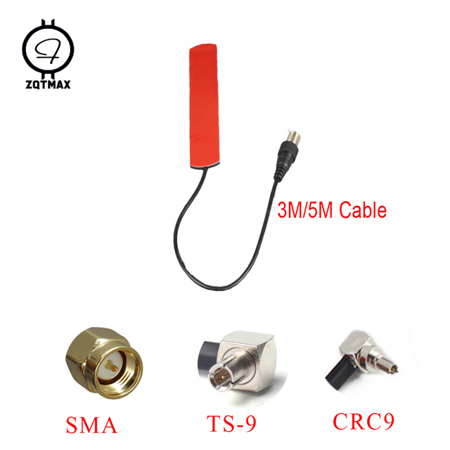 ZQTMAX 2G 3G 4G antenna LTE patch with SMA CRC9 TS9 connector 3m 5m cable Universal indoor and outdoor antenna,2pcs
