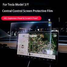15 inç araba ekran koruyucu Film temperli cam araba aksesuarları navigasyon ekran koruyucu Film Tesla modeli 3/Y Dropship