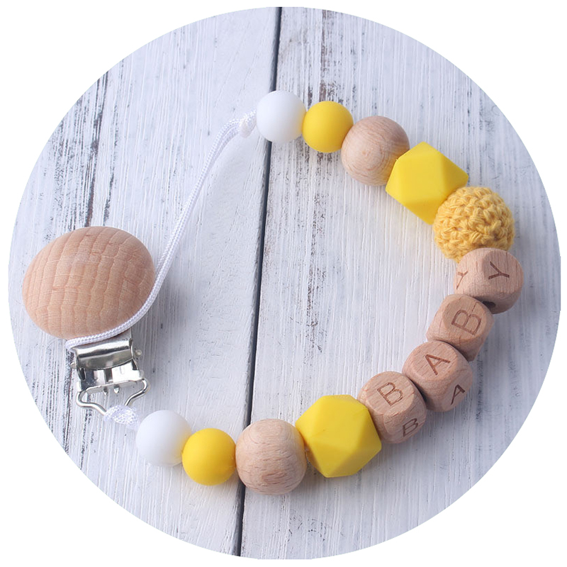 New Baby Woode Teether Bracelet Food Grade Beech Bead Chews Nurse Pacifier Clip Holder Silicone Pacifier Chains Teether Toy Gift