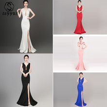 Skyyue Evening Dress Deep V-neck Women Party Dresses Crystal Zipper Robe De Soiree 2019 Sexy Hollow Split Fromal Gowns C238-DS1