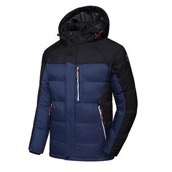 Men's Sportswear Windproof Winter Down Jacket High-end Casual Waterproof Thicken Down Jackets Men Stitching Warm Hooded Jacket