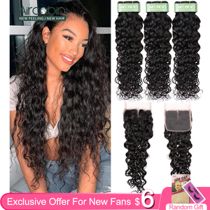 Aircabin Brazilian Remy Hair Water Wave Bundles With Closure Natural Color Double Weft Bundles Extension With Swiss Lace Closure(China)