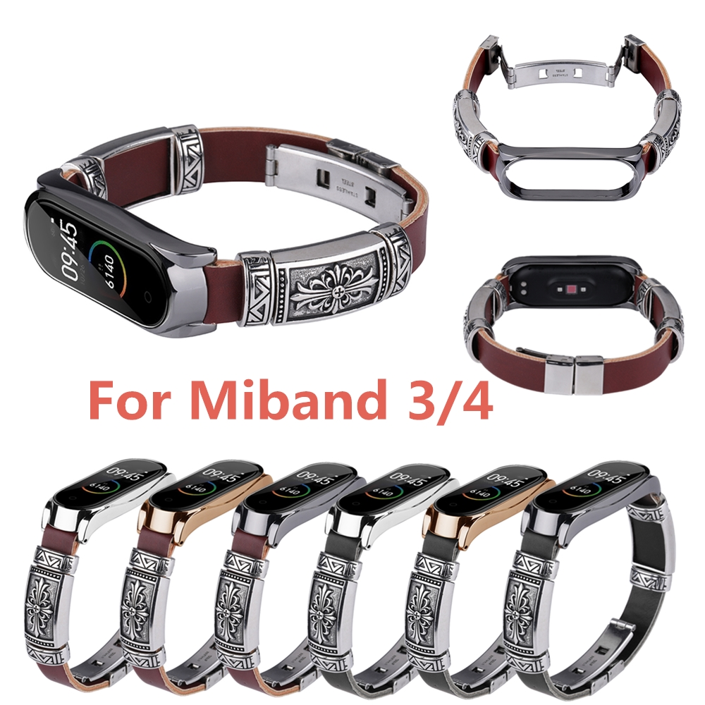 For Xiaomi Mi Band 4 Replacement Wrist Strap Buckle Metal Shell Retro Double Button Butterfly Bracelet Wristband For Mi Band 4