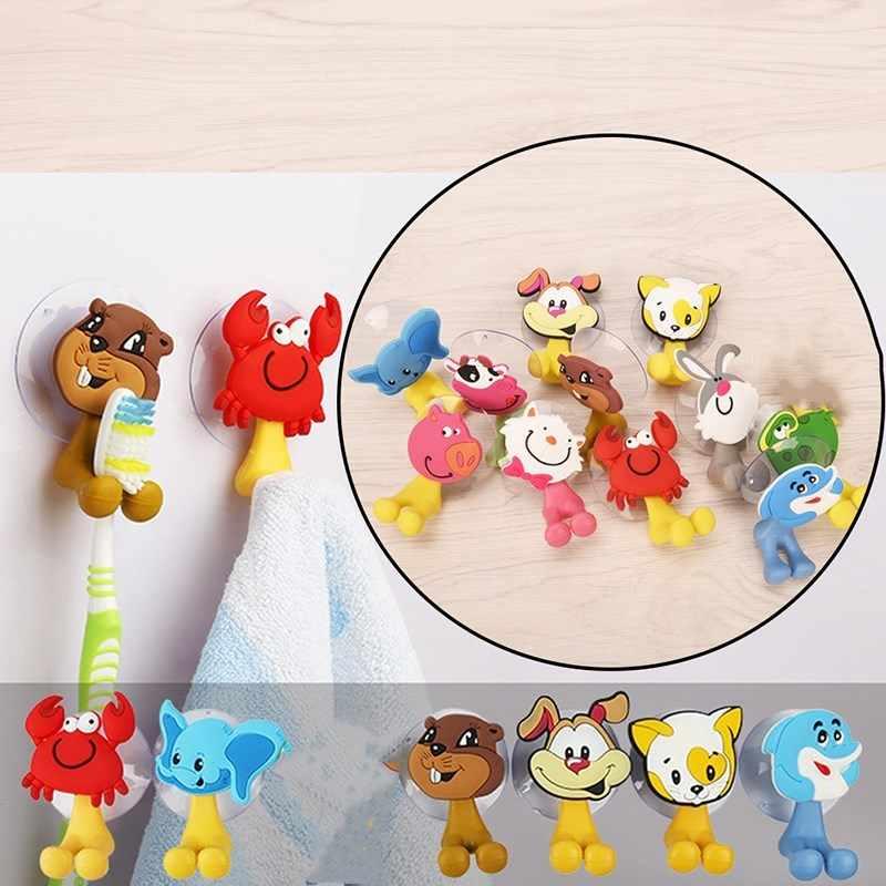 12 스타일 1PC 동물 귀여운 만화 동물 흡입 컵 칫솔 홀더 욕실 액세서리 세트 벽 흡입 홀더 도구