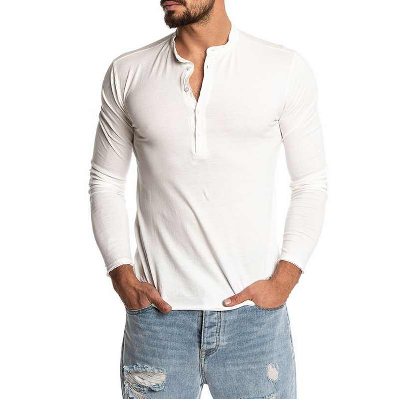 Luxe Herfst Tee Shirt Homme Casual Slim Fit Lange Mouw Henley Shirts Button Stand Kraag Tee Tops Solid Camiseta Masculina