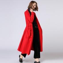 2-х цветов осень-зима Для женщин средней длины плиссированная куртка с v-образным воротником Аурикулярия с кружевными карманами поясом плащ-Тренч, верхняя одежда размеров XL-4XL черного и красного цвета