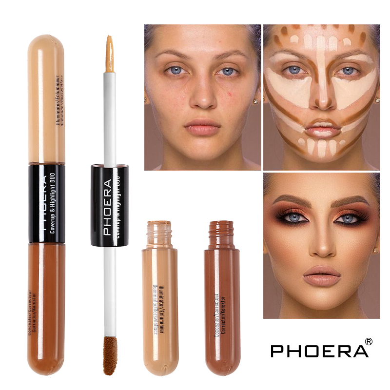 PHOERA Double Head Concealer Stick Makeup Full Cover Contour Face Concealer Cream Moisturizing Base Hide Imperfection TSLM1