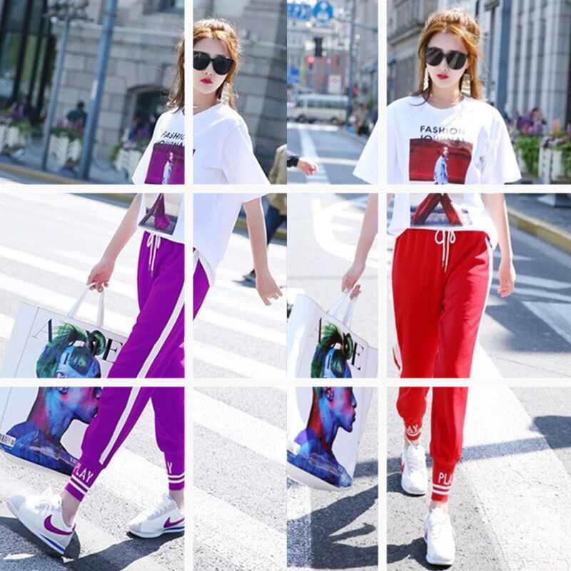 Playful Casual WOMEN'S Suit BF Summer 2019 New Style Ankle Banded Pants Hong Kong Style Careful Ji Gang Kong-Style Two-Piece Set