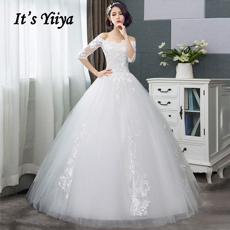 Wedding Dresses Boat Neck It's Yiiya AR681 Elegant Embroidery Lace Vestido De Novia Lace Half Sleeve Boho Wedding Dresses 2020