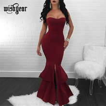 Wishyear Strapless Mermaid Dress Front Slit Cascading Ruffle Hem Bodycon Cocktail Party Dresses Elegant Women Formal Outfits one shoulder twist front slit ruffle hem dress