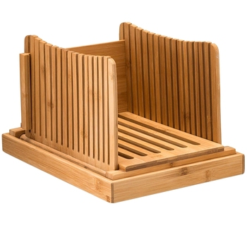 Bamboo Bread Slicer Cutting Guide - Wood Bread Cutter For Homemade Bread, Loaf Cakes, Bagels Foldable And Compact With Crumbs Tr