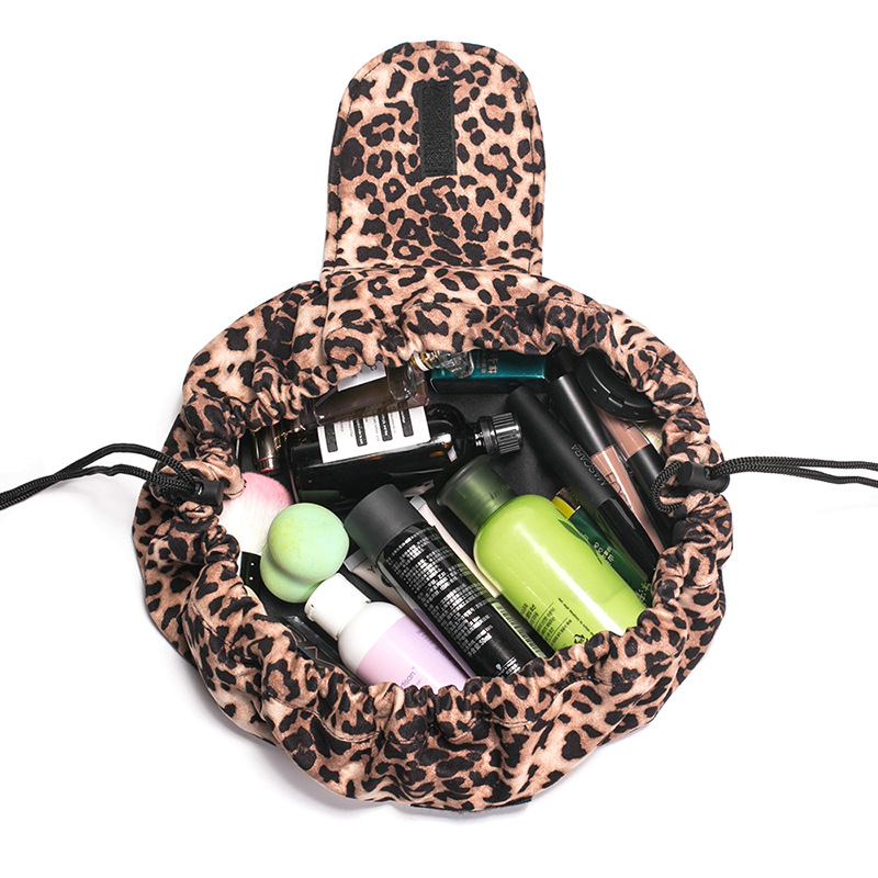 Round Leopard Print Cosmetic Bag Organizer Women Bag Make Up Pouch Portable Large Capacity Drawstring Traveling Storage Bag