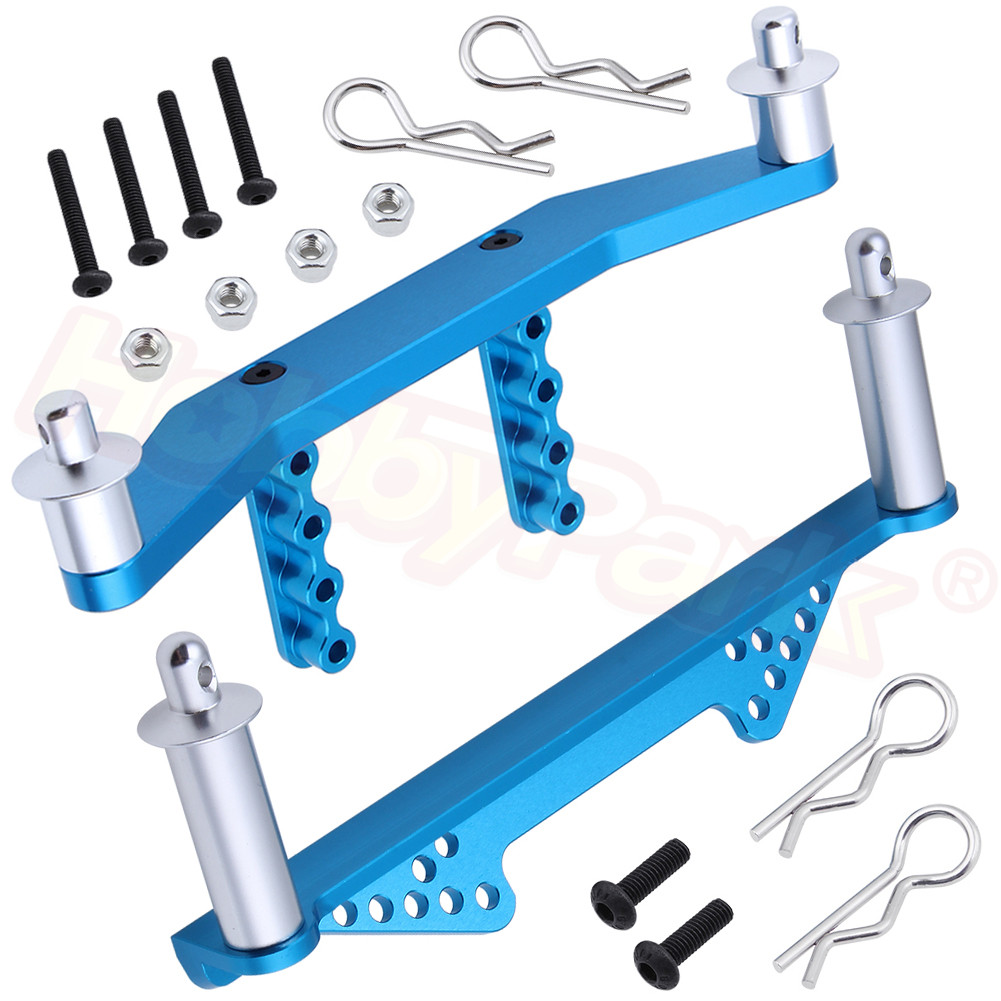 For Traxxas Slash 2WD <font><b>1/10</b></font> Aluminum Front & Rear <font><b>Body</b></font> Mounts with <font><b>Body</b></font> Posts Clips Short Course Racing Truck <font><b>RC</b></font> <font><b>Car</b></font> Parts image