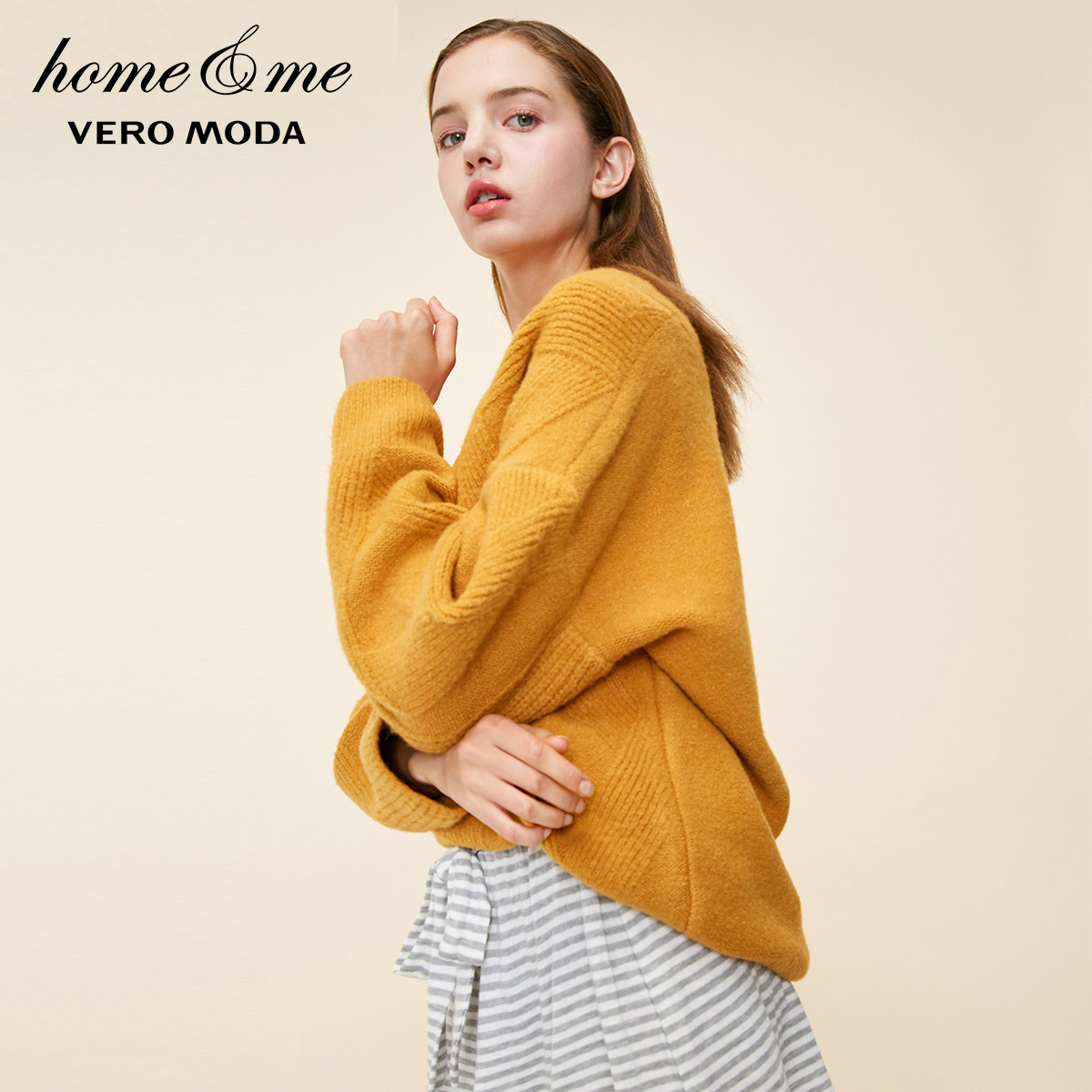 Vero Moda New Arrivals Women's V-neck Drop-shoulder Sleeves Loose Fit Homewear Knit Sweater | 318413507