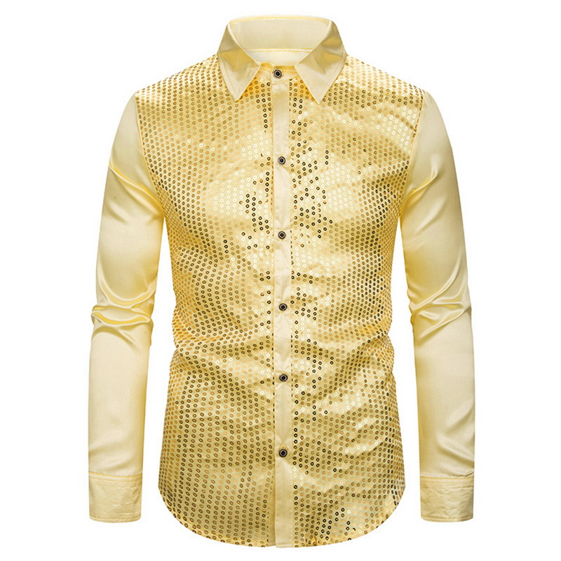 Men's Luxury  Shirts New Long Sleeve Silk Satin Shiny Disco Party Shirt Men Top Stage Dance Prom Costume Fit