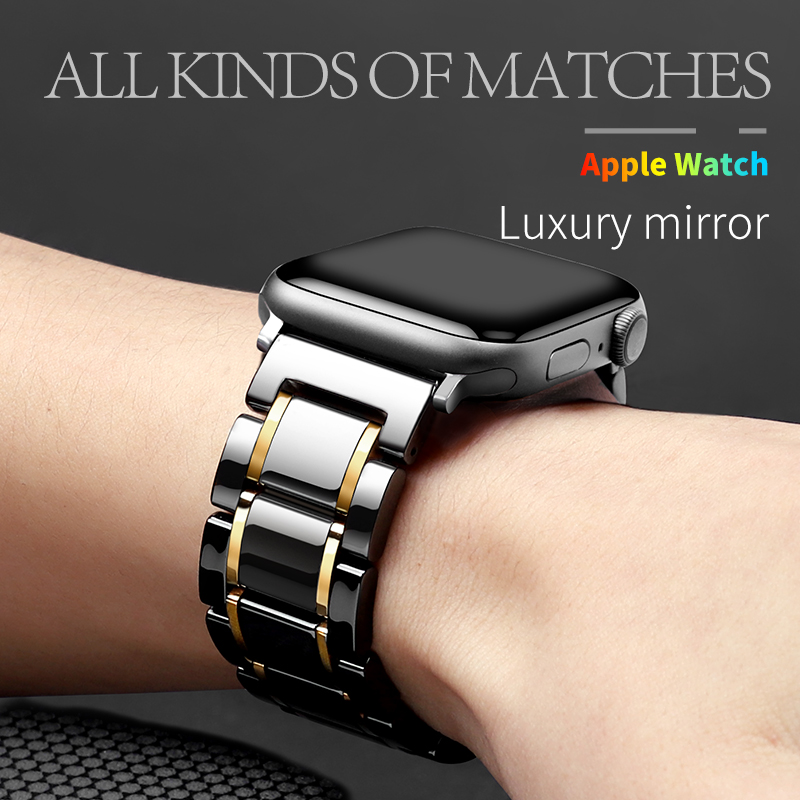 Ceramic watch band Huawei, Samsung, apple watch band 44mm 40mm 42mm 38mm accessories stainless steel butterfly CLASP BRACELET Iw