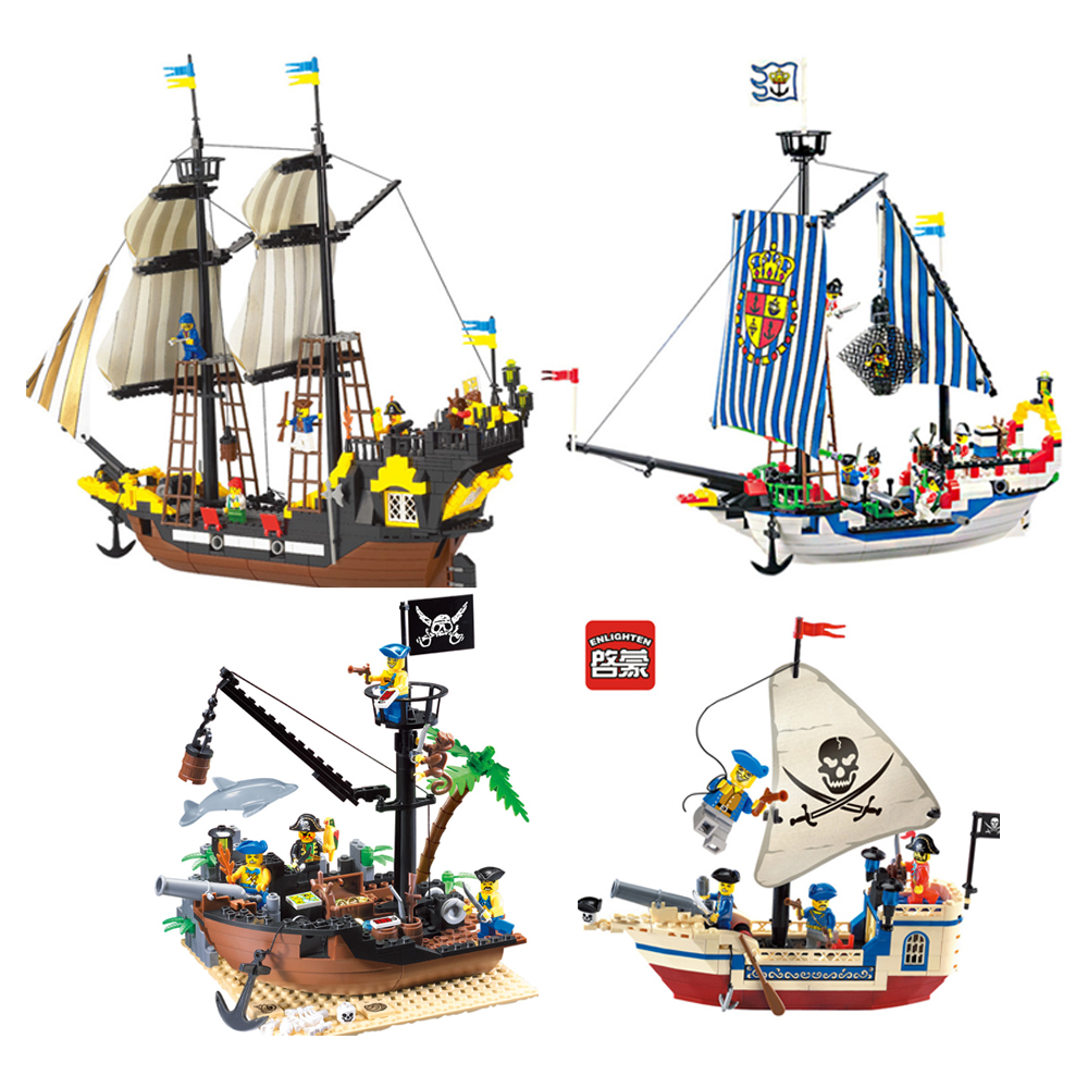 Enlighten Compatible Pirate Ship Building Blocks Caribbean Pirate Sets Boat Model Bricks Block Boys Child Kids Toys Gifts