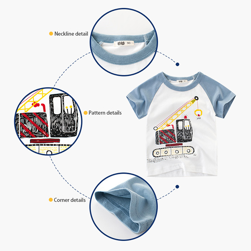 Children's T-Shirt Tops Short-Sleeve Funny Kids Cotton Summer New Cartoon Tee