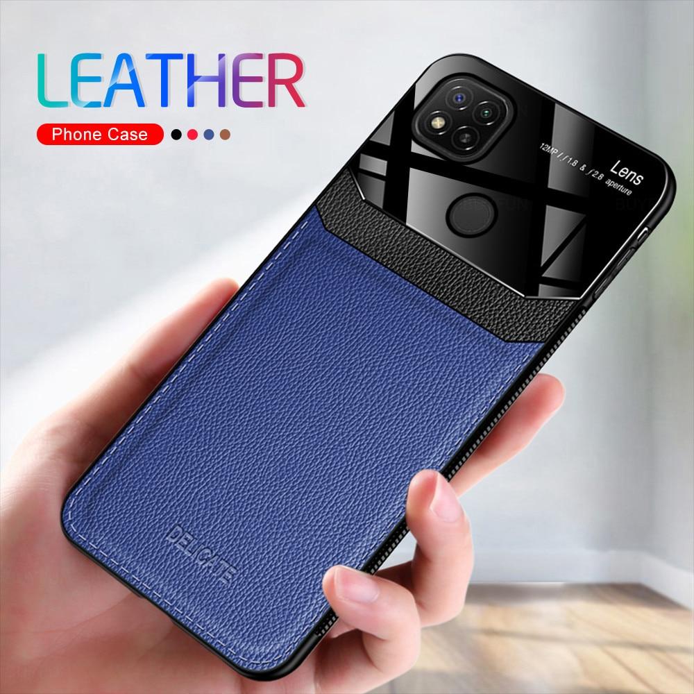 Redmi 9C NFC Case Leather Texture Plexiglass Phone Cover For Xiaomi Redmi 9C Case On Xiomi Redme 9 C Silicone Shockproof Coque