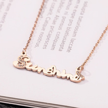 2019 Hot Stainless Steel Necklaces For Women Rose Gold English letter necklace Gifts Cubic Zirconia Jewelry hot copper jewelry for women panther head necklace aaa cubic zirconia enamel leopard animal long pendant rose gold luxury brand