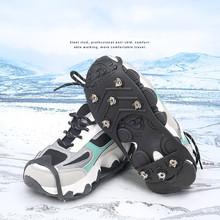 Antypoślizgowe śnieg Ice Crampon buty wspinaczkowe kolce uchwyty raki knagi kalosze raki Spike buty crampon 1 para M L 8 szpilki tanie tanio LEOSOXS CN (pochodzenie) Ice gripper 202010in060 shoe cover Waterproof Eight-tooth non-slip shoe cover Black modern and simple