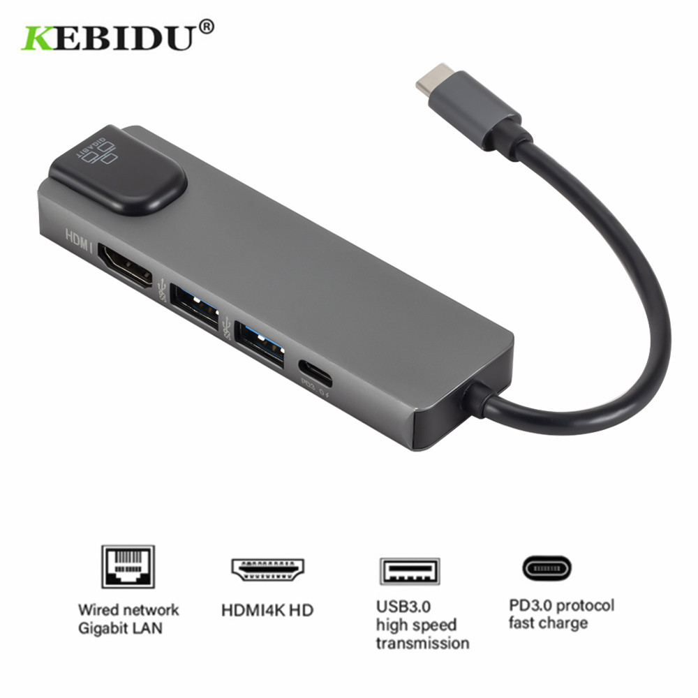5 in 1 USB3.1 Type C HUB 4K Hdmi USB3.0 to Rj45 Lan Adapter Charger For Macbook