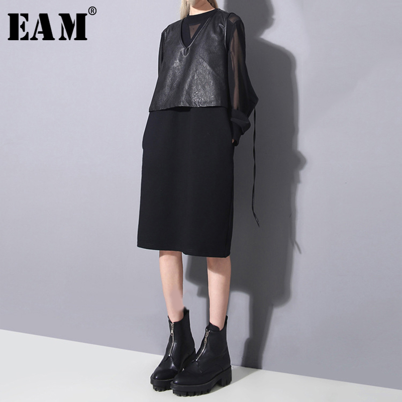 [EAM] 2019 New Autumn Winter Round Neck Long Sleeve Black Mesh Stitch Loose Perspective Dress Women Fashion Tide JO270