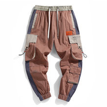 Men 2020 Spring Color Block Cargo Pants Streetwear Hip Hop H