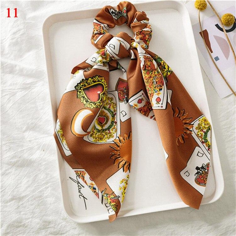 Элегантные резинки для волос с большим цветком и леопардовым принтом; эластичные резинки для волос для женщин и девочек; завязанные длинные резинки; шарф; аксессуары для волос - Цвет: A11