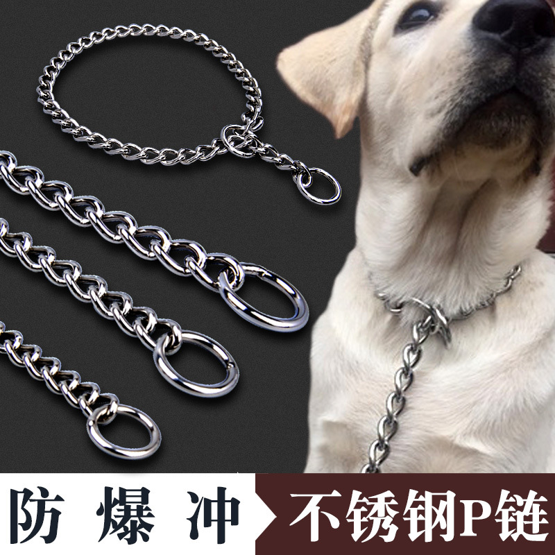 202 Seamless Welding Button-Shaped Dog Neck Ring Stainless Steel P Pendant Large Dog Medium-sized Dog Control Pendant Dog Neckla