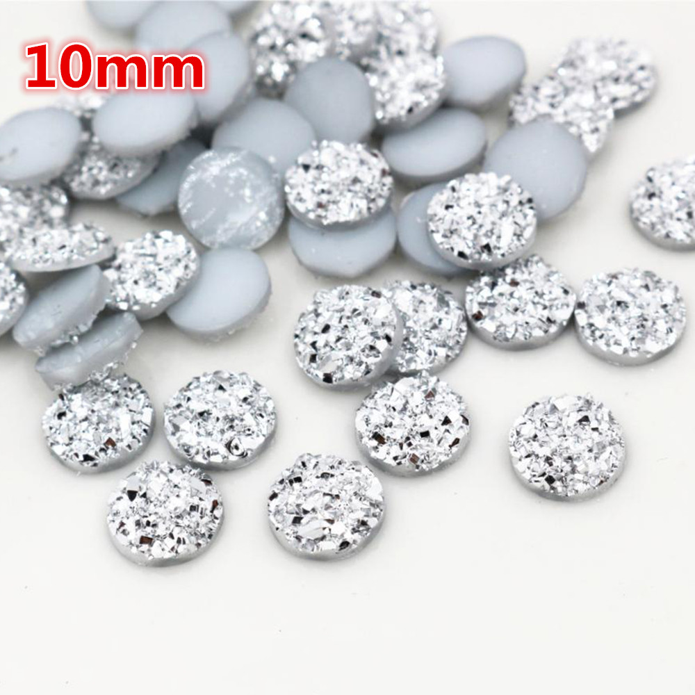 New Fashion 10mm 40pcs Silver Plated Colors Natural Ore Style Flat Back Resin Cabochons For Bracelet Earrings Accessories-O2-10