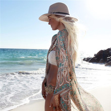 Sexy Beach Cover Up  Print Beach Women Bikini Cover-ups Beachwear Female Swimsuit Cover Up Dress Swimwear Beach Tunic beach hawaii print cover up slip dress