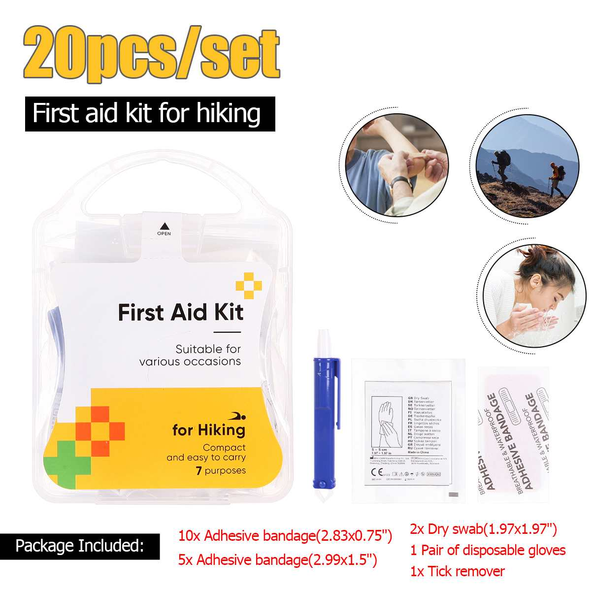 20 Pcs Portable Outdoor First Aid Kit Emergency Medical Bag Sport Camping Travel Survival Tools