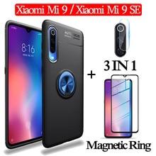 3-in-1 Glass + Magnetic Silicone Case for Xiaomi-Mi-9-SE Soft phone Xiaomi Mi9 Full Cover xiaomi-mi-9-se magnetic ring