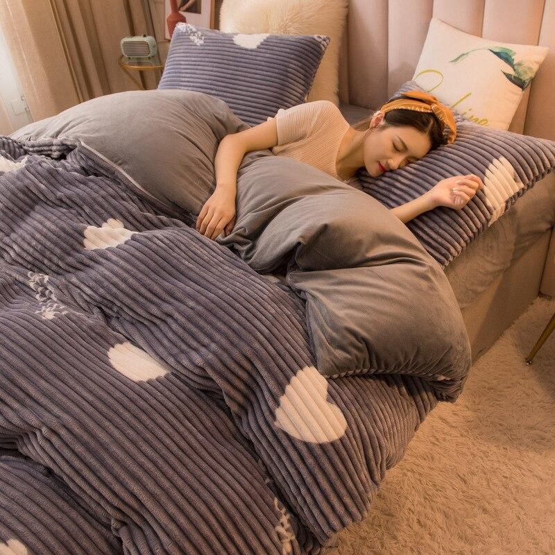 Parure de lit avec housse de couette chaude et épaisse en velours