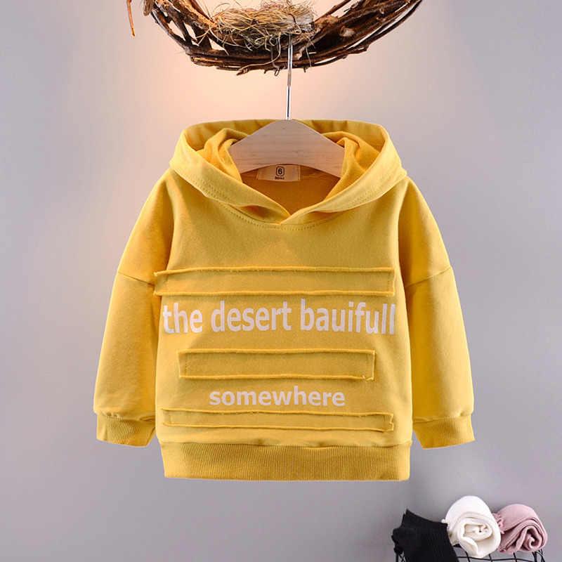 2020 소년 아기 옷 티셔츠 탑 편지 패치 아기 유아 어린이 옷 4 색 면화 긴 소매 봄 옷