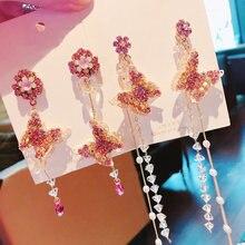 Mengjiqiao Лидер продаж модная Корейская бабочка стразы свисающие