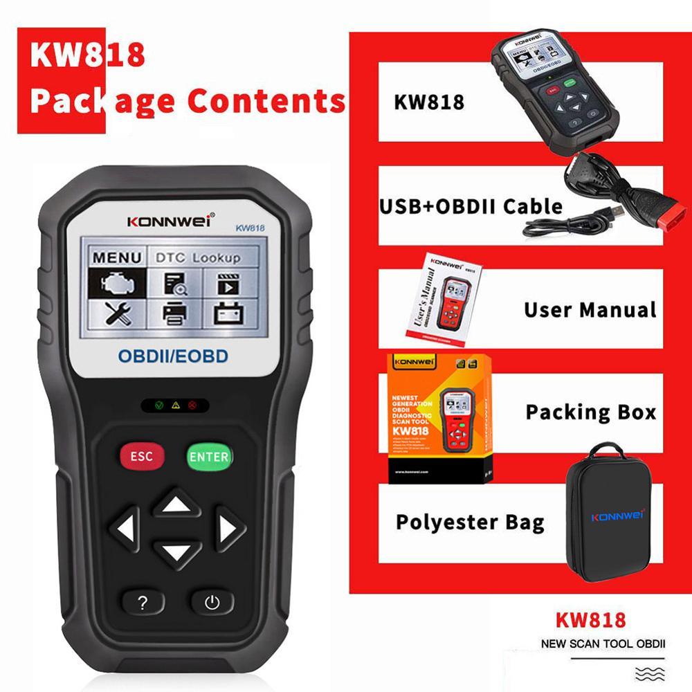 Car Code Scanner KONNWEI KW818 12V Auto Code Reader Diagnostic Check Engine Light Scan Tool After 1996 OBD2 Scanner Tool
