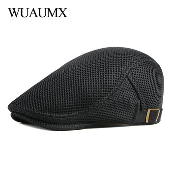 Wuaumx 2020 Casual Mesh Beret Hat Men Women Spring Summer Visors Net Breathable Herringbone Flat Cap Solid Peaked Cap Casquette wuaumx casual military hats spring summer flat top baseball caps men women outdoor army cap mesh breathable casquette militaire