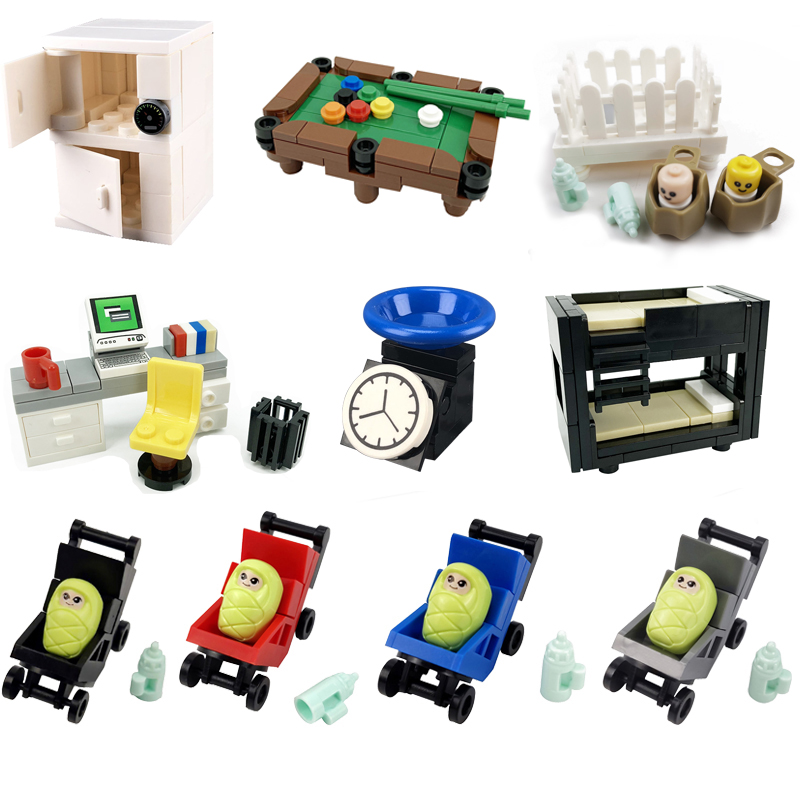 Friends Accessories Bed Piano Drawer Baby Carriage Castle Model Kids Toys Creator Friends Figures Assemble City Building Blocks