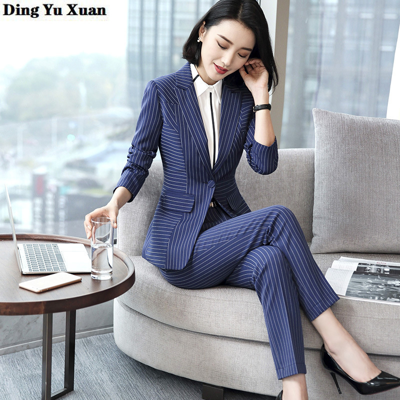 2020 New Korean Style Office Lady Black Blue Stripe Pant Suits for Women Business Formal Blazer with Pants Womens Work Pantsuit