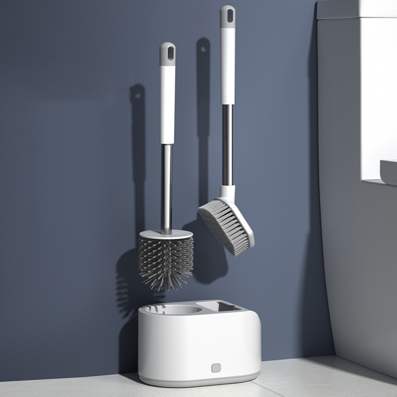 Multifunctional Cleaning Brush Wall-Mounted All-Round Cleaning Toilet Brush Set Automatic Drain Base Bathroom Accessories