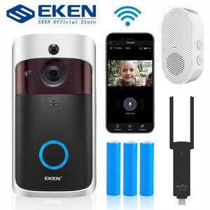 EKEN V5 Smart IP Video Intercom WIFI Video Door Phone Door Bell WIFI Doorbell Camera IR Alarm Wireless Security Camera(China)