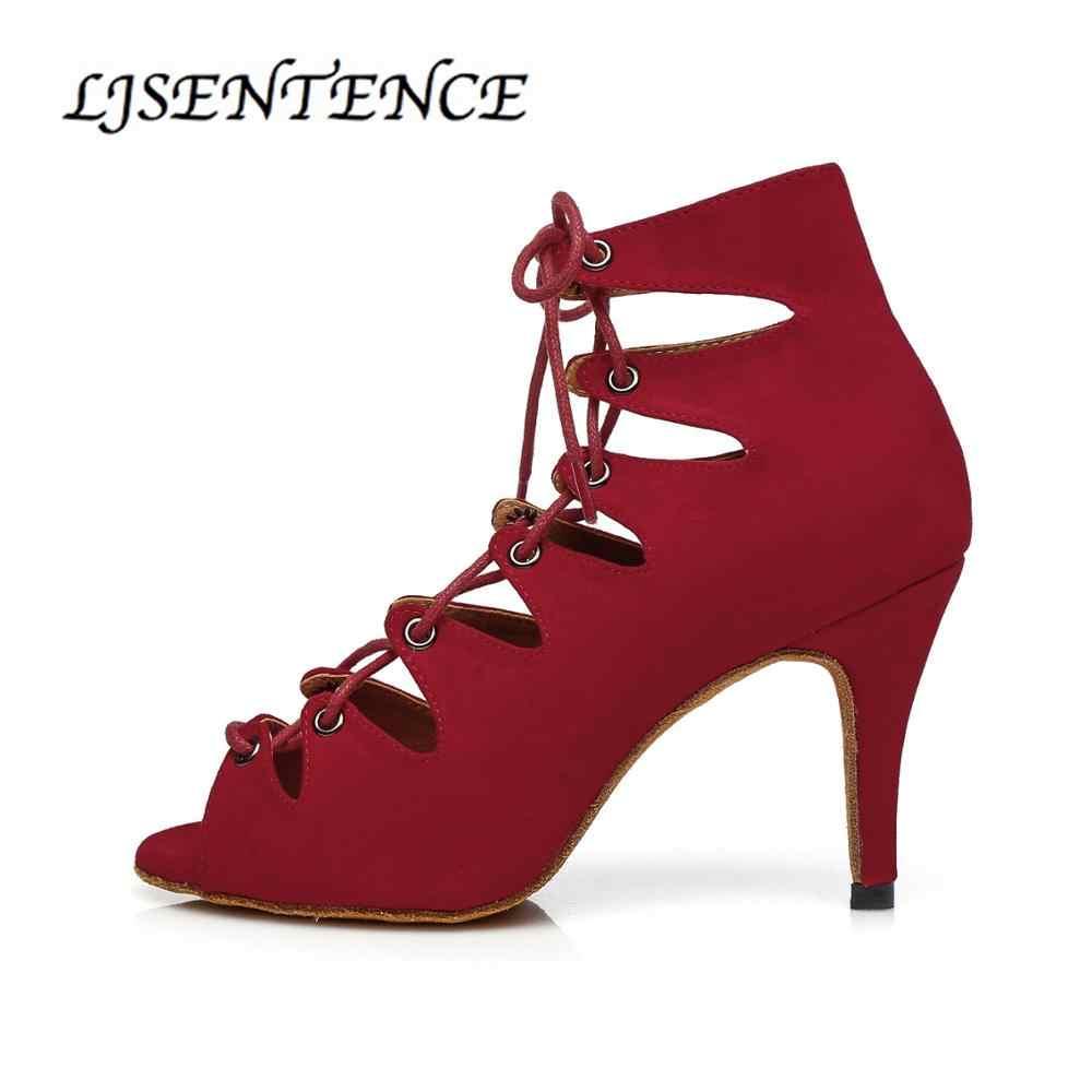 Salsa Latin Tanzen Stiefel für Frauen Rot Ferse Lace-up Ballsaal Bachata Kizomba Rumba Samba Dance Schuhe Sandalen 2019 LJSENTENCE