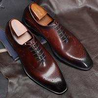 Men leather shoes business dress suit shoes men brand Bullock genuine leather black lace up wedding mens shoes formal shoes men
