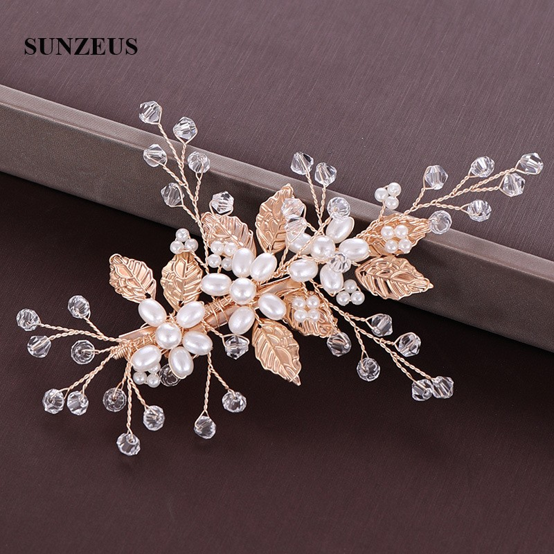 Gold Leaves Wedding Headpieces Hand-made Crystals Pearls Bridal Accesories For Head SQ421
